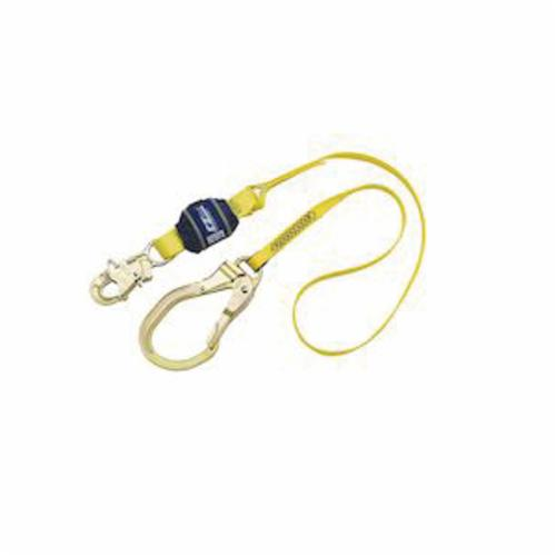 3M DBI-SALA Fall Protection 1246106C EZ-Stop™ Lightweight Shock Absorbing Lanyard, 200 to 386 lb Load Capacity, 6 ft L, Nylon Line, 1 Legs, Rebar Hook Anchorage Connection, Snap Hook Harness Connection Hook
