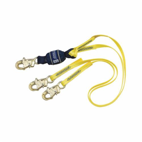 3M DBI-SALA Fall Protection 1246161 Force2™ Tie-Off Shock Absorbing Lanyard, 130 to 310 lb Load Capacity, 6 ft L, Polyester Webbing Line, 2 Legs, Snap Hook Anchorage Connection, Snap Hook Harness Connection Hook
