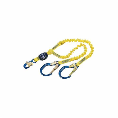 3M DBI-SALA Fall Protection 1246193C EZ-Stop™ Fixed Shock Absorbing Lanyard, 130 to 310 lb Load Capacity, 6 ft L, Polyester Line, 2 Legs, Rebar Hook Anchorage Connection, Snap Hook Harness Connection Hook