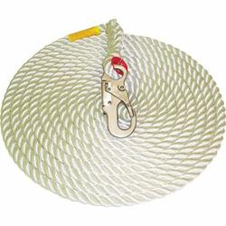 3M Protecta Fall Protection SSR100-50 Rope Lifeline With Carabiner, 310 lb Load Capacity, 50 ft L, Specifications Met: OSHA 1910.66, OSHA 1926.502