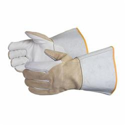 Endura® 365HBRL Heavy Duty Precision Arc TIG Welding Gloves, L, Split Cowhide Leather Back, Brown/White, Gauntlet Cuff