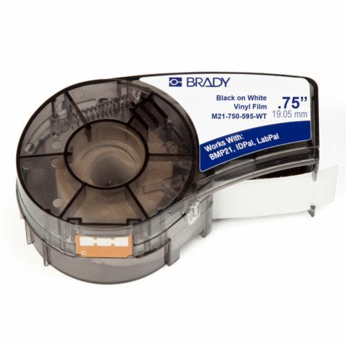 Brady® M21-750-595-WT Label Cartridge, 21 ft L x 3/4 in W, For Use With BMP®21 PLUS Portable Label Printer, IDPAL™ and LABPAL™ Handheld Label Maker, B-595 Vinyl, Black on White