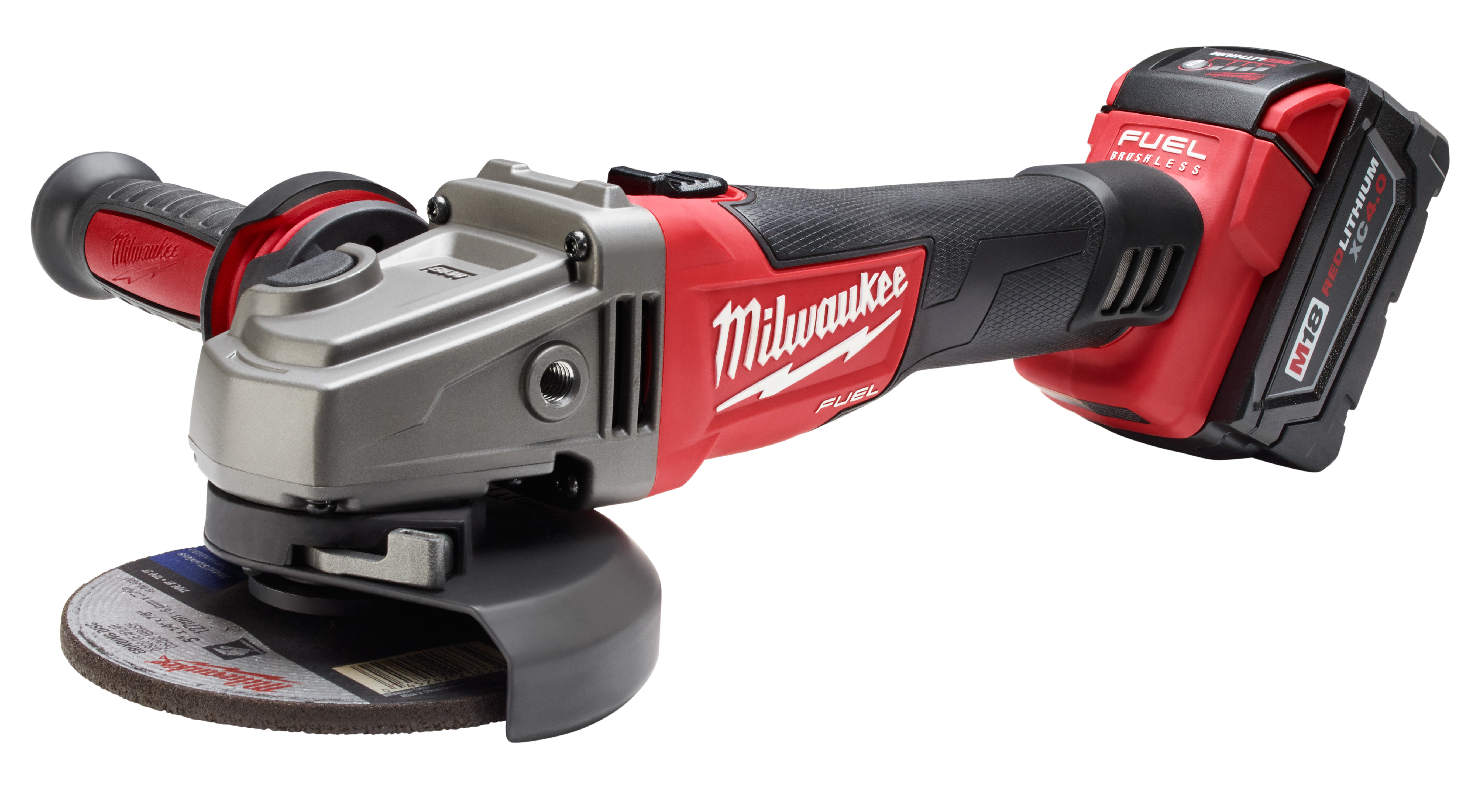 Milwaukee® M18™ FUEL™ 2781-22 Cordless Grinder Kit, 5 in Dia Wheel, 5/8-11 Arbor/Shank, 18 VDC, Lithium-Ion Battery, 2 Batteries, Lock-On Slide Switch/Trigger Lock Switch Switch