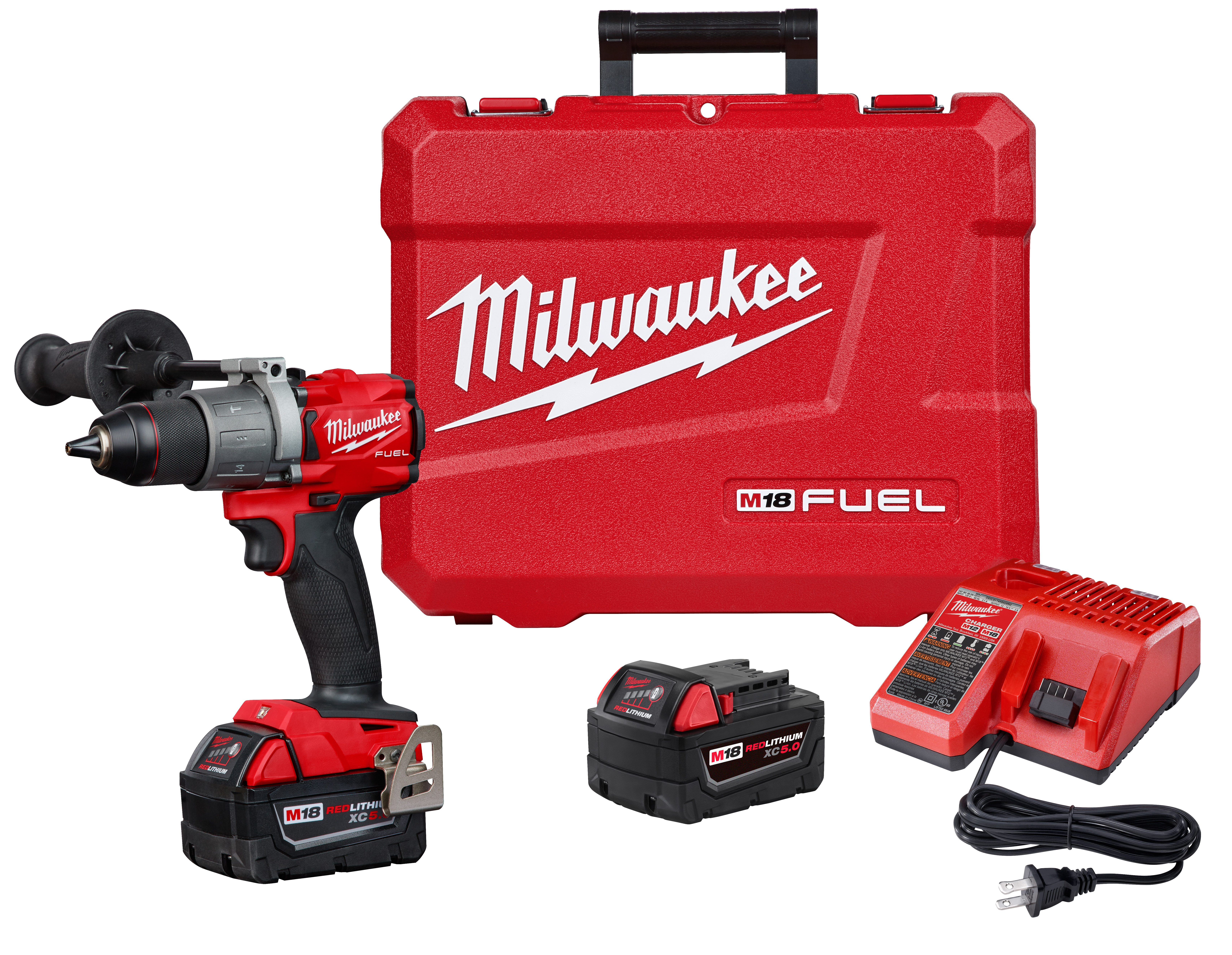 Milwaukee® M18™ FUEL™ 2804-22 Cordless Compact Lightweight Hammer Drill/Driver Kit, 1/2 in Hex Chuck, 18 VDC, 0 to 550 rpm, 0 to 2000 rpm No-Load, REDLITHIUM™ Battery