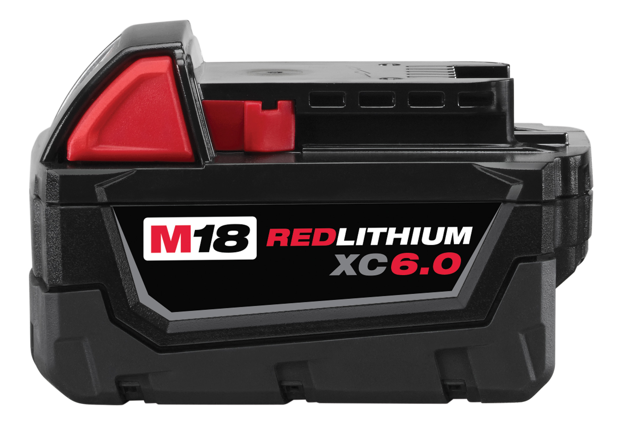Milwaukee® M18™ REDLITHIUM™ 48-11-1860 Slide-On Battery Pack, 6 Ah Lithium-Ion Battery, 18 VDC Charge, For Use With Milwaukee® M18™ 18 V Cordless Tools