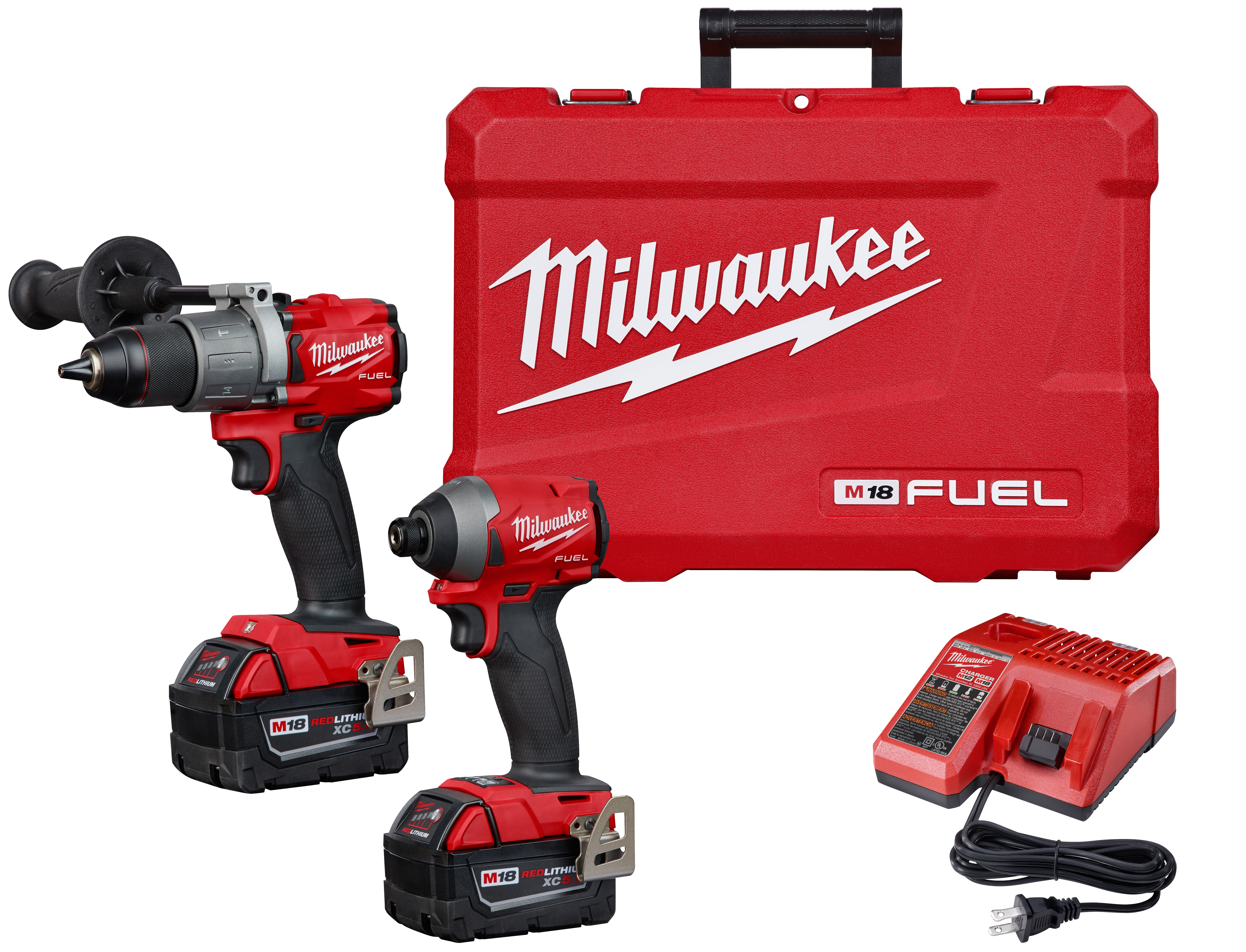 Milwaukee® M18™ FUEL™ 2997-22 2-Tool Cordless Combination Kit, Tools: Hammer Drill, Impact Driver, 18 VDC, 5 Ah Lithium-Ion REDLITHIUM™ Battery
