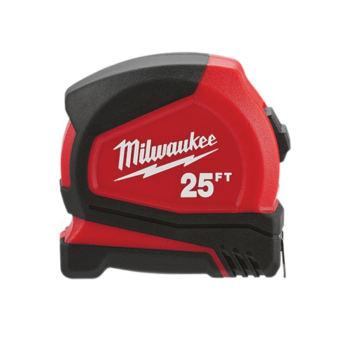 Milwaukee® 48-22-6625 Compact Measuring Tape With Belt Clip, 25 ft L x 25 mm W Blade, Steel, Imperial, 1/16 in, 1/8 in, 1/4 in, 1/2 in