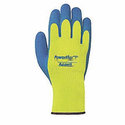 Ansell 80-400-9 Medium Duty General Purpose Gloves, Coated, SZ 9, Natural Rubber Latex Palm, Blue/Yellow, Knit Wrist Cuff, Resists: Abrasion and Cut, Acrylic/Terrycloth Lining, Seamless