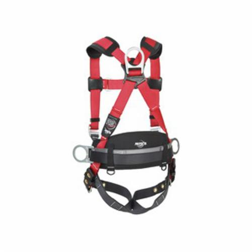 3M Protecta Fall Protection 1191209C Pro™ Construction Style Positioning Harness, M/L, 420 lb Load, Polyester Webbing Strap, Tongue Leg Strap Buckle, Tongue Chest Strap Buckle, Steel Hardware, Red