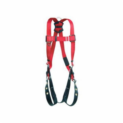 3M Protecta Fall Protection 1191238C Pro™ Harness, XL, 420 lb Load, Polyester Webbing Strap, Tongue Leg Strap Buckle, Steel Hardware, Red