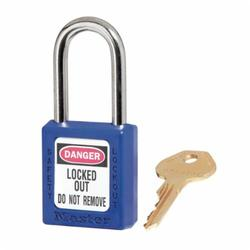 Master Lock® 410KABLU Zenex™ Lockout Padlock, Keyed Alike Key, Blue, Thermoplastic Body, 1/4 in Dia x 1-1/2 in H x 25/32 in W Steel Shackle, 1-3/4 in L Body