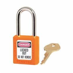 Master Lock® 410KAORJ Zenex™ Lockout Padlock, Keyed Alike Key, Orange, Thermoplastic Body, 1/4 in Dia x 1-1/2 in H x 25/32 in W Steel Shackle, 1-3/4 in L Body