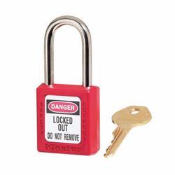 Master Lock® 410KARED Zenex™ Lockout Padlock, Keyed Alike Key, Red, Thermoplastic Body, 1/4 in Dia x 1-1/2 in H x 25/32 in W Steel Shackle, 1-3/4 in L Body