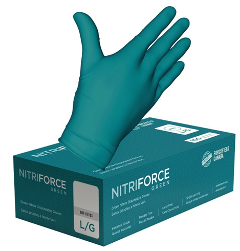 NitriForce Green Nitrile Disposable Gloves, Small