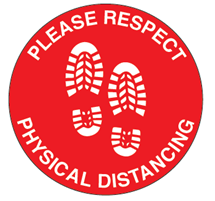 Sign, Please Respect Physical Distancing Floor Decal, 18""