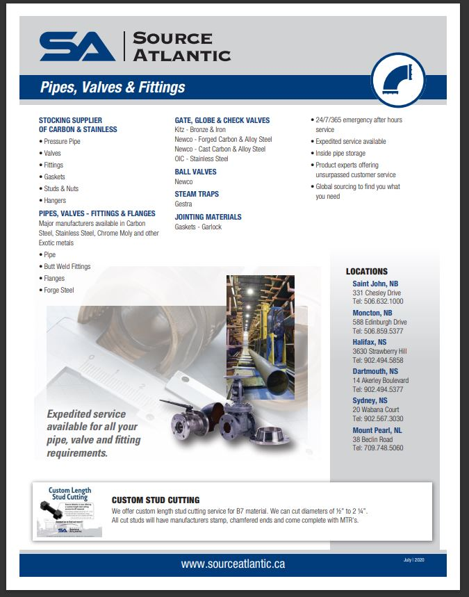 Pipe, Valves and Fittings Line Card