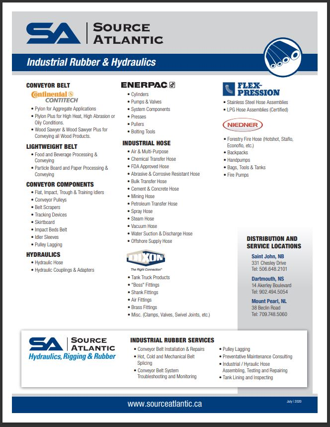 Industrial Rubber and Hydraulics Line Card