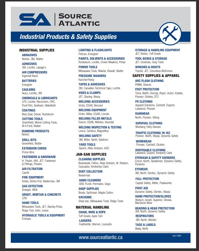 Industrial and Safety Products Line Card